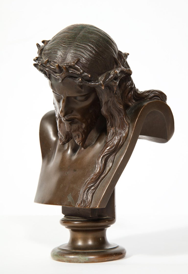 Jean-Baptiste Auguste Clesinger, French Bronze Bust of Jesus Christ, Barbedienne 11