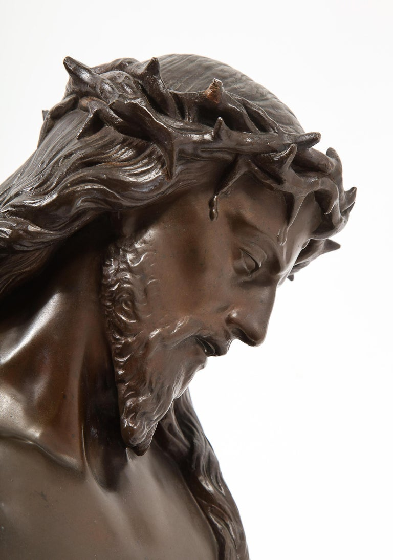 Jean-Baptiste Auguste Clesinger, French Bronze Bust of Jesus Christ, Barbedienne For Sale 12
