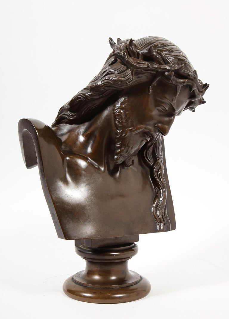 Jean-Baptiste Auguste Clesinger, French Bronze Bust of Jesus Christ, Barbedienne For Sale 14
