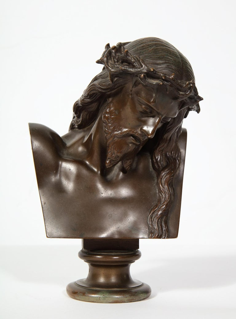 An exceptional French patinated realistic miniature bronze bust of Jesus Christ, 1858
