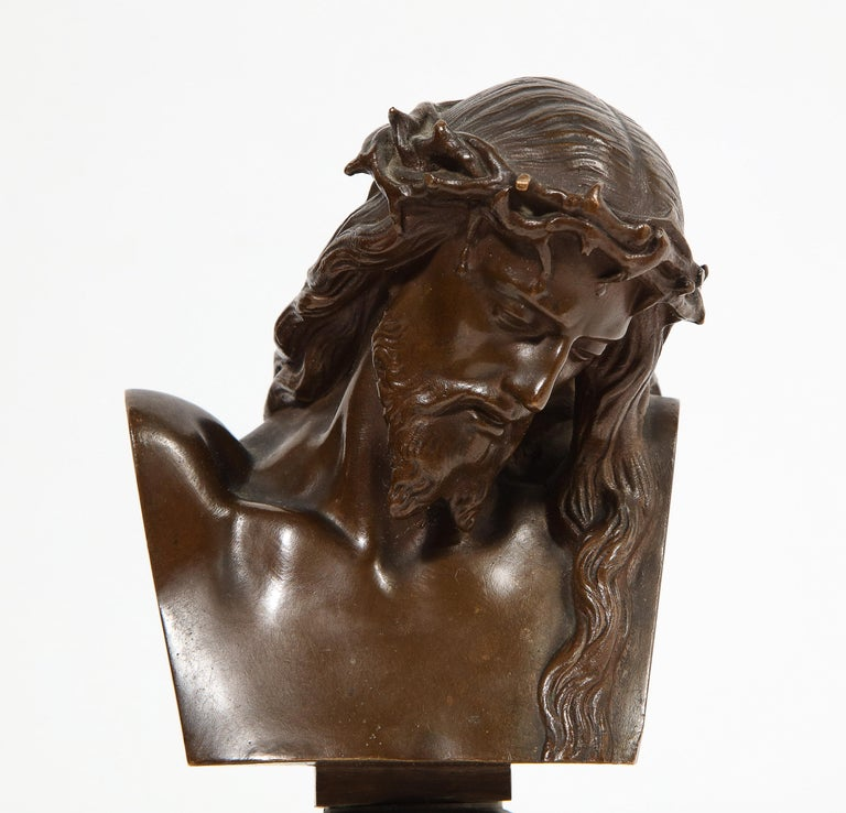 Jean-Baptiste Auguste Clesinger, French Bronze Bust of Jesus Christ, Barbedienne In Good Condition For Sale In New York, NY
