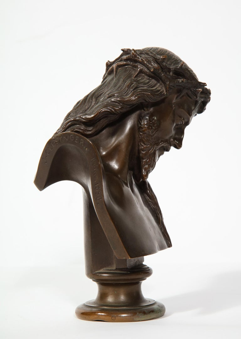 19th Century Jean-Baptiste Auguste Clesinger, French Bronze Bust of Jesus Christ, Barbedienne