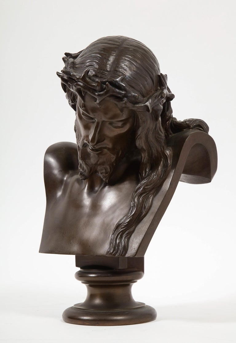 19th Century Jean-Baptiste Auguste Clesinger, French Bronze Bust of Jesus Christ, Barbedienne For Sale