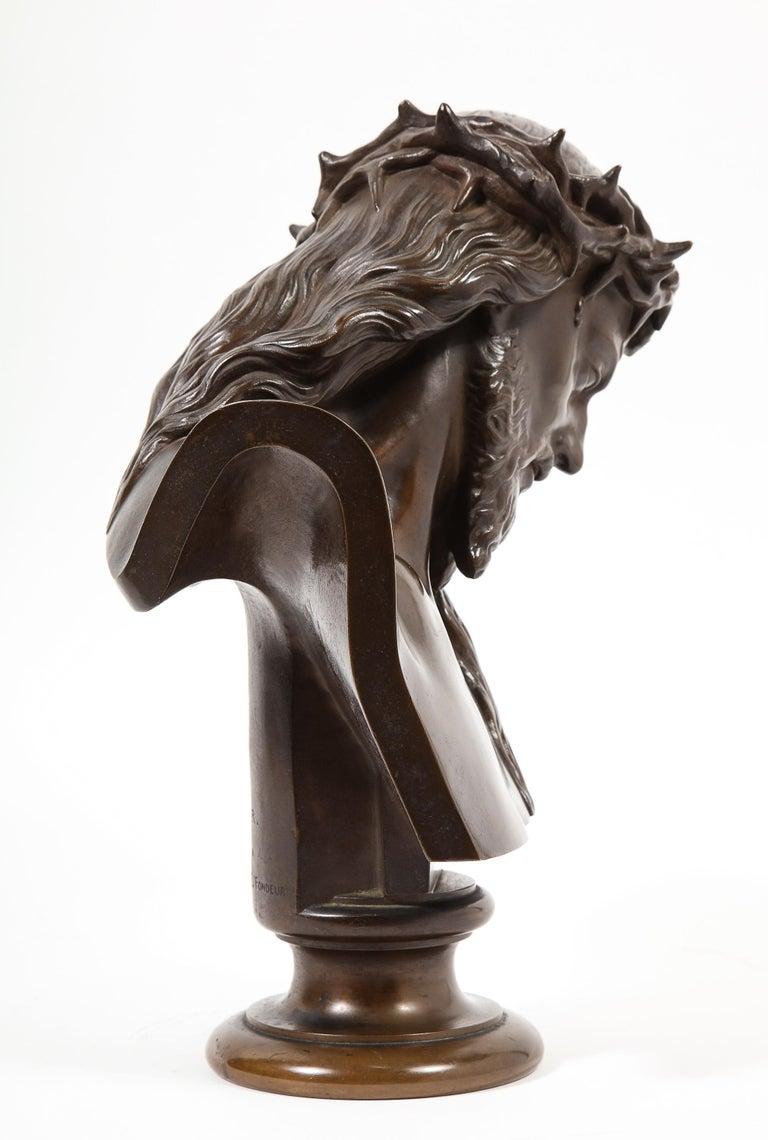 Jean-Baptiste Auguste Clesinger, French Bronze Bust of Jesus Christ, Barbedienne For Sale 2