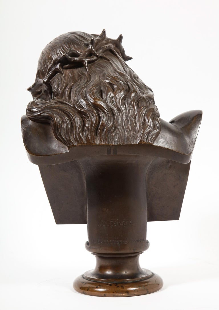 Jean-Baptiste Auguste Clesinger, French Bronze Bust of Jesus Christ, Barbedienne For Sale 3