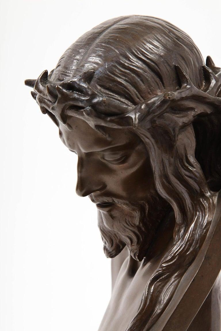 Jean-Baptiste Auguste Clesinger, French Bronze Bust of Jesus Christ, Barbedienne For Sale 4
