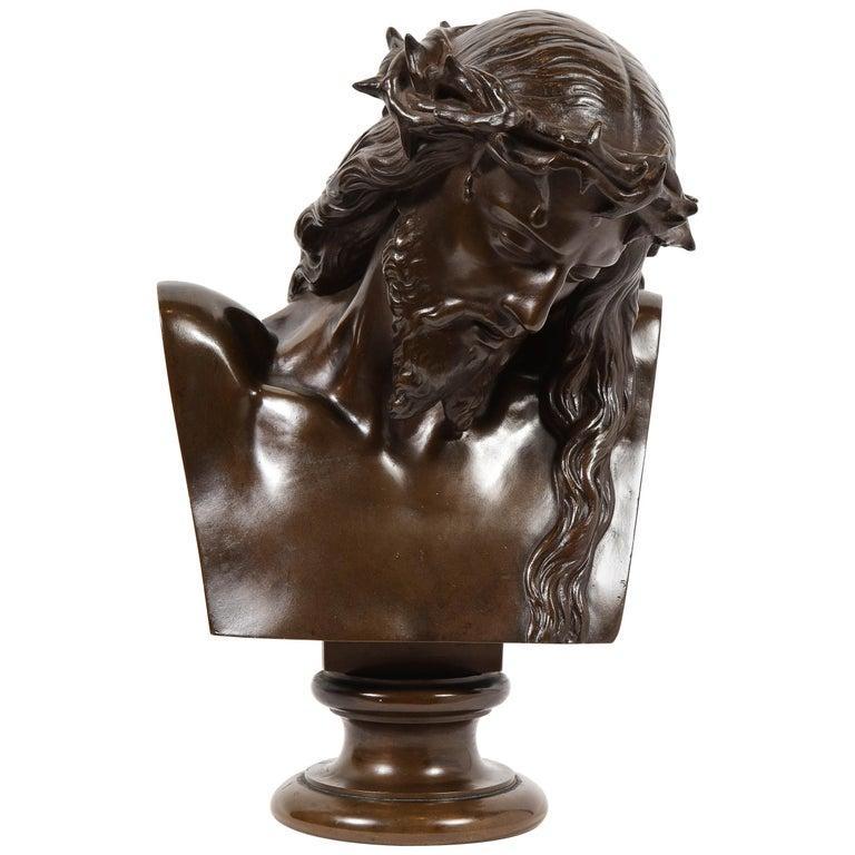 Jean-Baptiste Auguste Clesinger, French Bronze Bust of Jesus Christ, Barbedienne For Sale