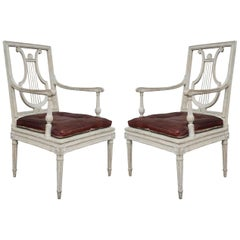 Jean Baptiste Boulard Pair of Carved Wood Neoclassical French Chairs