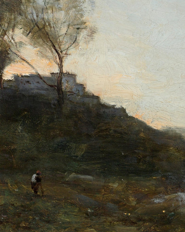 This ethereal landscape with its luminous atmosphere and light-drenched palette is a quintessential plein air masterpiece by the renowned French painter Jean-Baptiste-Camille Corot. Regarded by many as the first Impressionist, Corot's paintings