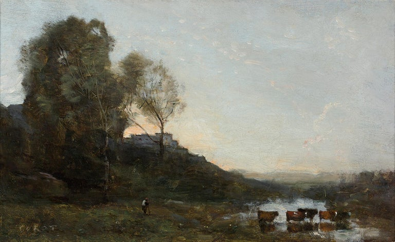 Jean-Baptiste-Camille Corot Landscape Painting - Le Gué aux Cinq Vaches (The Ford with Five Cows)