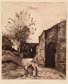 La Porte d'Arras - Original Etching by Camille Corot - 1870
