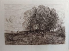 Landscape #4 - Original Etching by Camille Corot - 1850