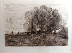 Landscape #4 - Original Etching by Camille Corot - 1850s
