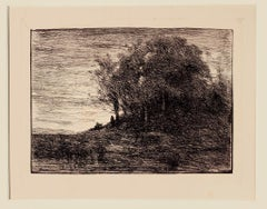 Landscape - Original Etching by Camille Corot - 19th Century