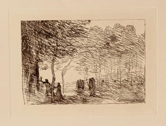 Landscape - Original Etching By Camille Corot - Late 19th Century