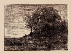 Landscape - Original Etching on Paper by Camille Corot - 19th Century