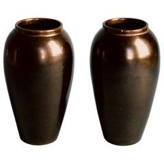 Jean Baptiste Gaziello, Pair of Black Ceramic Vases, 1930s