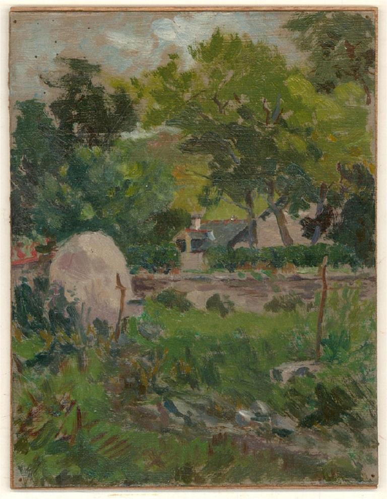 Jean-Baptiste Grancher (1911-1974) - Mid 20th Century Oil, Summer Shrubs - Black Landscape Painting by Jean-Baptiste Grancher