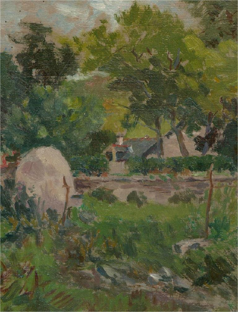 A verdant oil landscape showing lush greenery surrounding a cottage in the distance. The painting is on board, with the artist's studio stamp at the reverse.  On board.