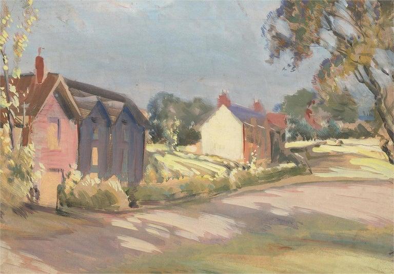 Jean-Baptiste Grancher (1911-1974) - Mid 20th Century Oil, Summer Street Scene - Brown Landscape Painting by Jean-Baptiste Grancher