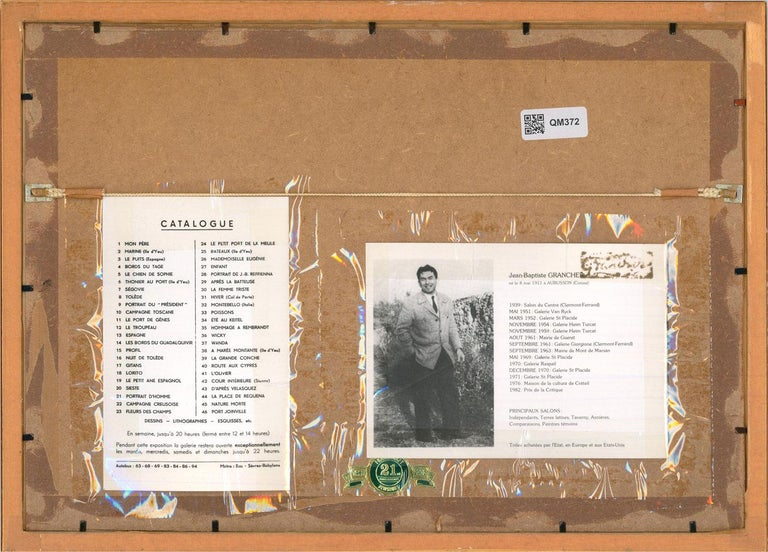 Presented in a simple wood frame. Printed catalogue and biography fixed to the reverse. Unsigned. On wove.