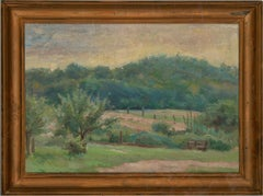 Jean-Baptiste Grancher (1911-1974) - Mid 20th Century Oil, Wooden Bench