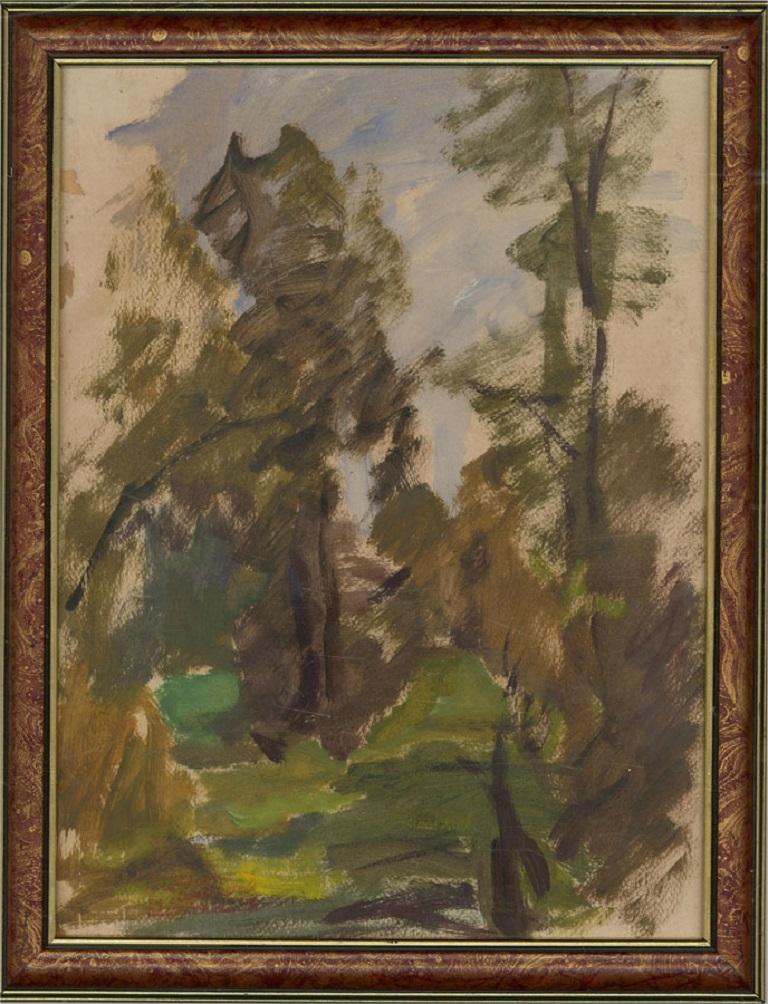 Jean-Baptiste Grancher (1911-1974)-Signed Mid 20th Century Oil, Leafy Landscape