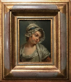 18th c. Jean-Baptiste Greuze French Portrait Oil Painting of a Young Girl