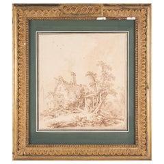 Jean Baptiste Le Prince 'Chaumiére au bord d'une fleuve'