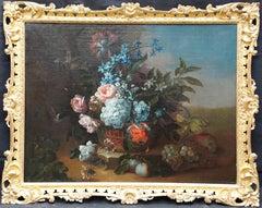Floral Still Life in Basket - Franco Flemish art Old Master flower oil painting