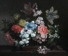 Flowers In A Basket - Original Oil, Still Life, French, Franco-Flemish painter