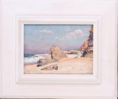 French Impressionist pastel, of a Seascape and figures on a beach