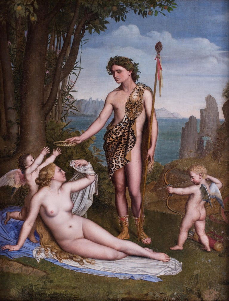 A 19th Century French classical painting of Bacchus crowning Ariadne by Poncet 1