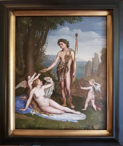 A 19th Century French classical painting of Bacchus crowning Ariadne by Poncet