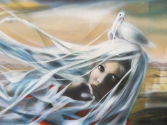Alizee : Woman with Dove - Handsigned oil on canvas