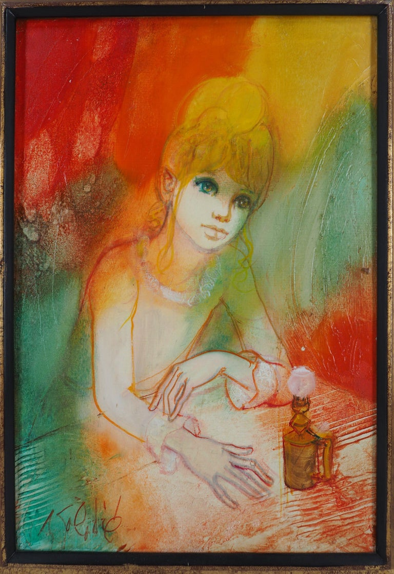 Dreaming Woman with an Oil Lamp - Handsigned oil on canvas For Sale 5