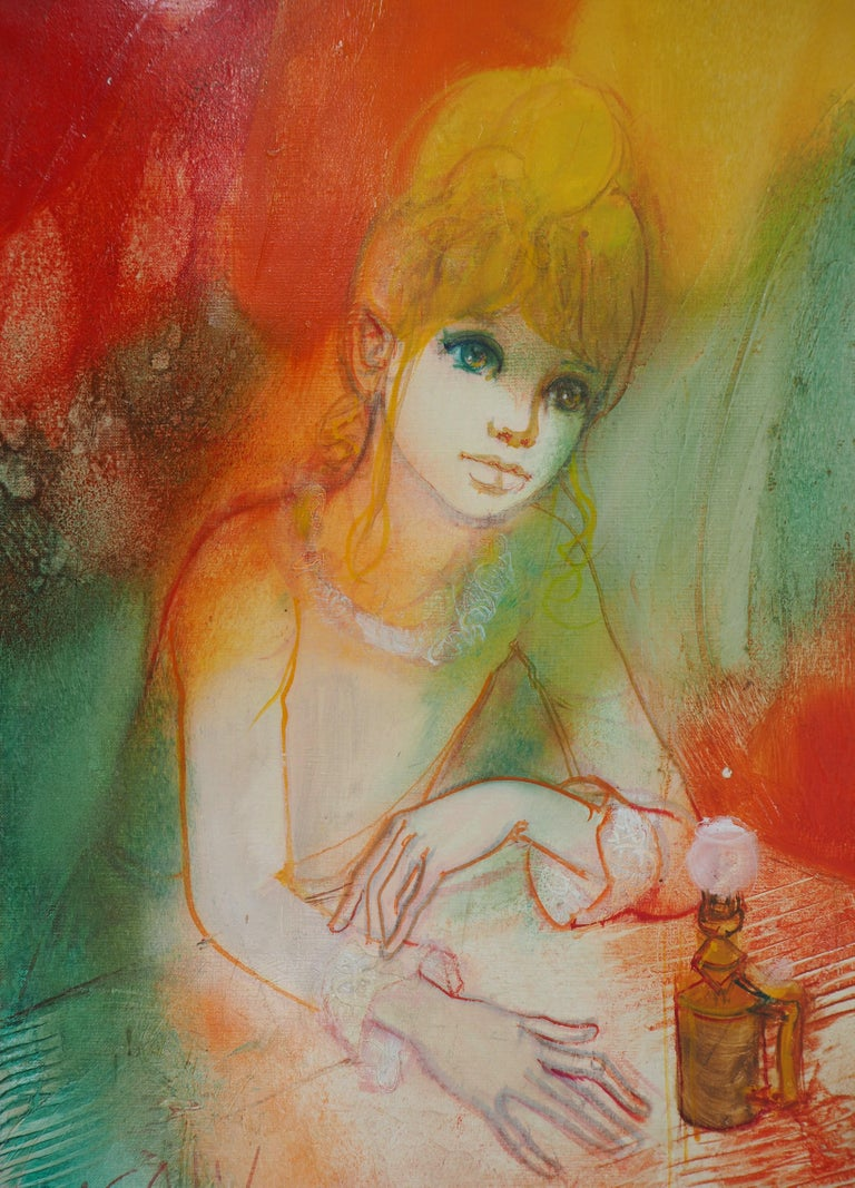 Dreaming Woman with an Oil Lamp - Handsigned oil on canvas For Sale 1