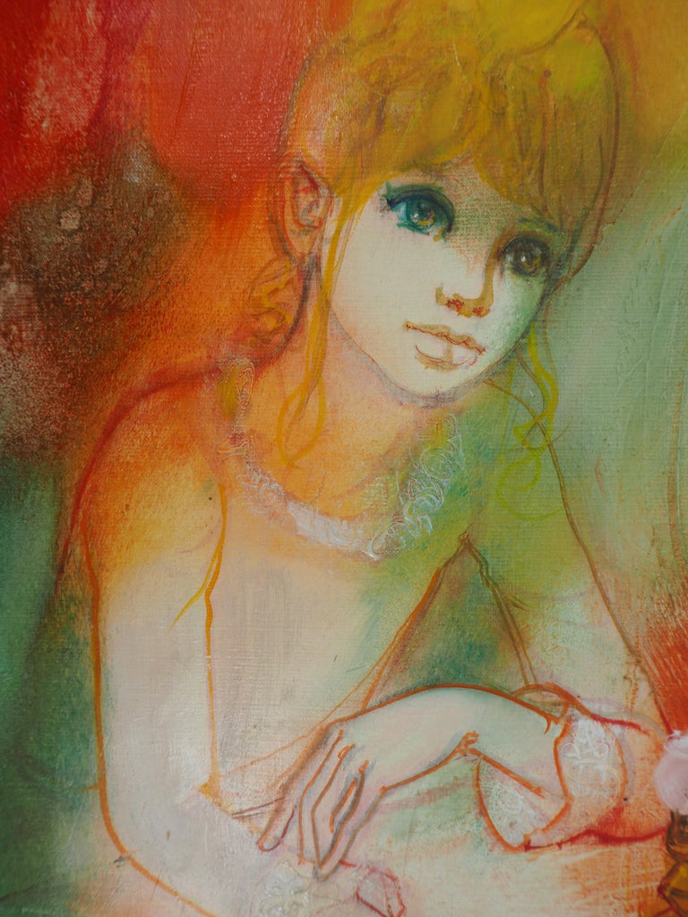 Dreaming Woman with an Oil Lamp - Handsigned oil on canvas For Sale 2