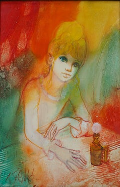 Dreaming Woman with an Oil Lamp - Handsigned oil on canvas