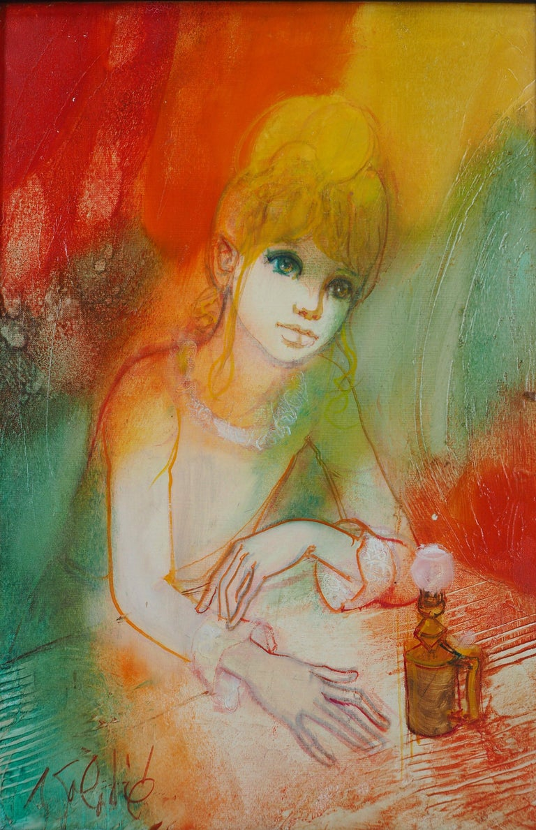 Jean-Baptiste Valadie Figurative Painting - Dreaming Woman with an Oil Lamp - Handsigned oil on canvas
