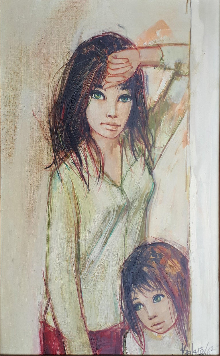 Sisters with Green Eyes - Handsigned oil on canvas - Modern Painting by Jean-Baptiste Valadie