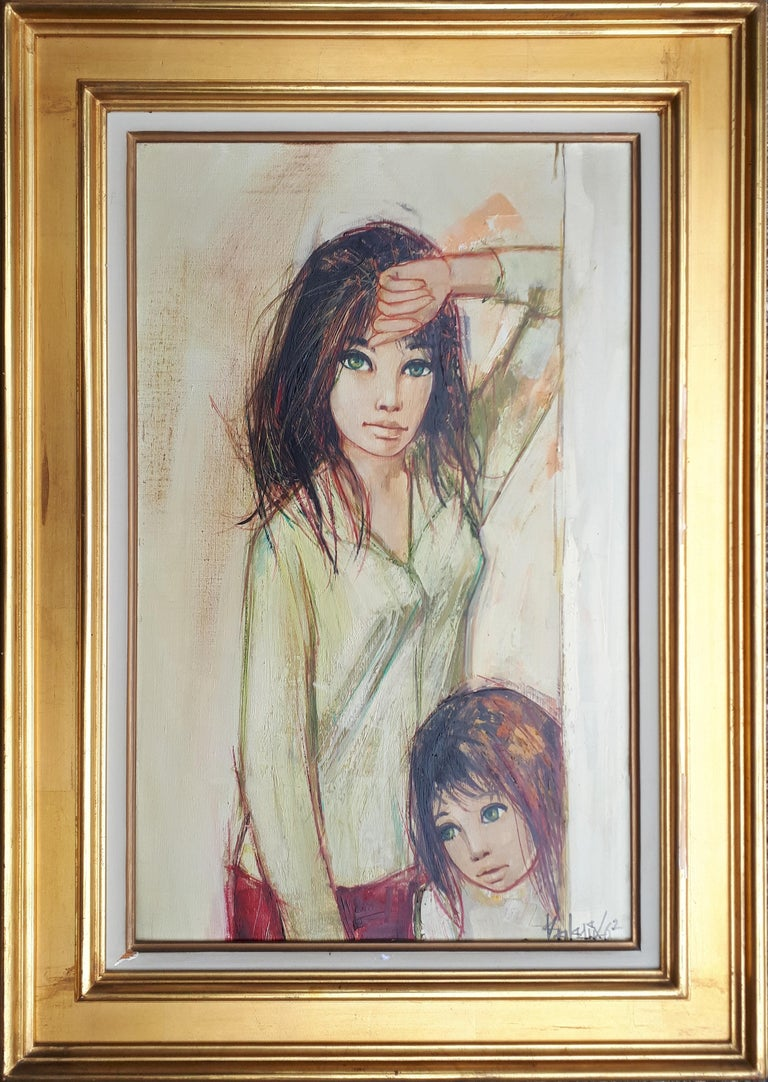 Jean-Baptiste Valadie Portrait Painting - Sisters with Green Eyes - Handsigned oil on canvas