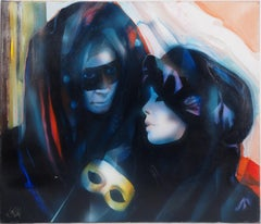 Venice carnival : The Lovers - Handsigned oil on canvas