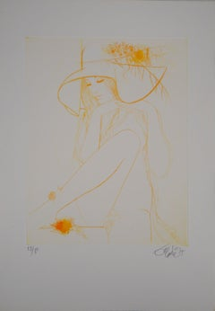 Fall : Women with a Hat - Original Etching, Handsigned