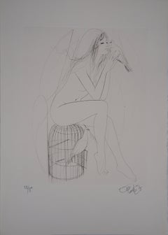 Nude with Doves - Original Etching, Handsigned