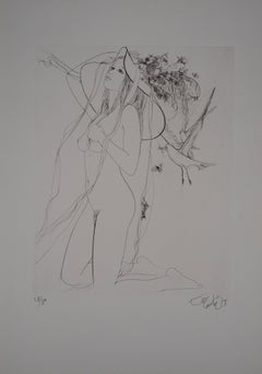 Nude with Tall Hat and Dove - Original Etching, Handsigned