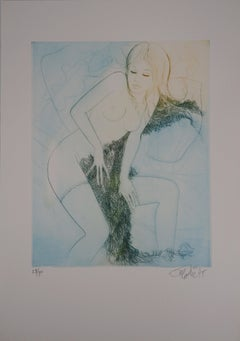 Winter : Woman with Cover - Original Etching, Handsigned - Numbered /225