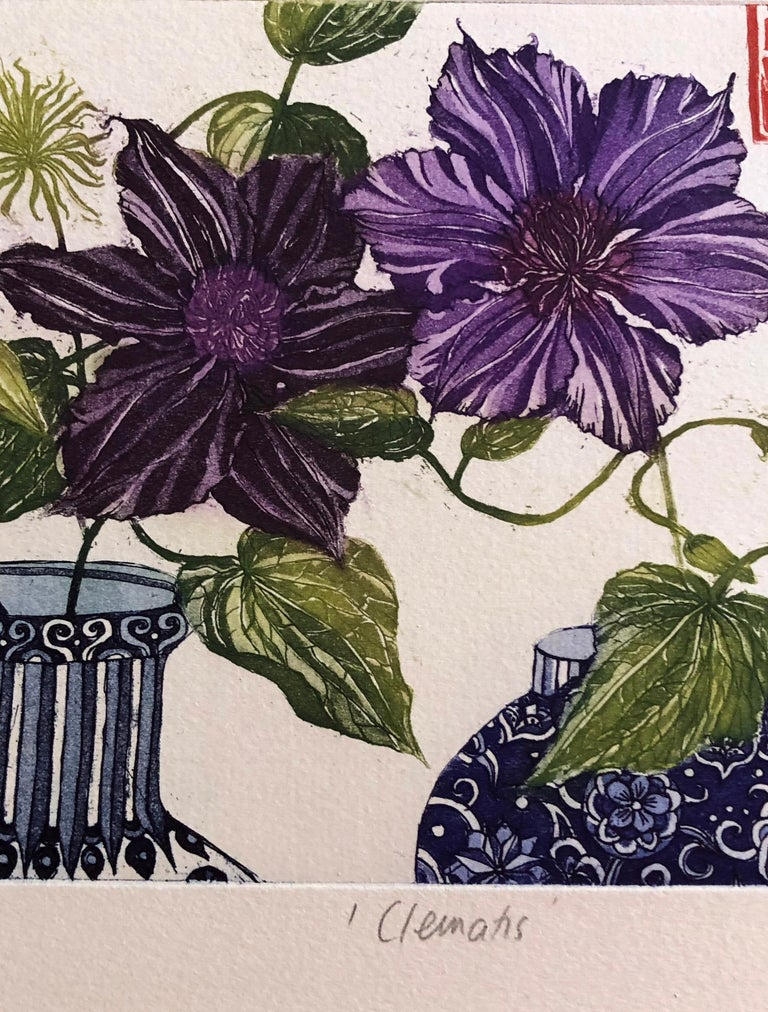 Clematis, etching with gold leaf by Jean Bardon For Sale 1