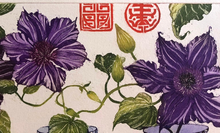 Clematis, etching with gold leaf by Jean Bardon For Sale 2