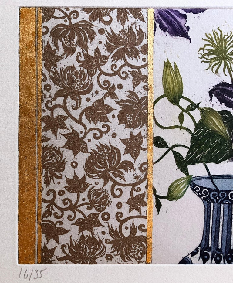 Clematis, etching with gold leaf by Jean Bardon For Sale 3